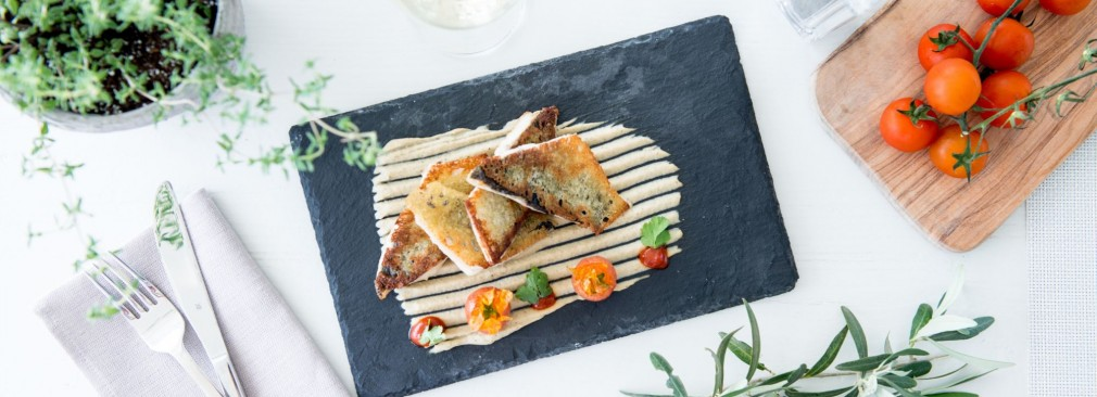 OUZO Bread Crusted Fish Fillets with Eggplant Smoked Cream